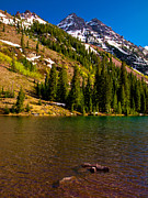 14000 Feet Prints - Maroon Lake Below Pyramid Peak Print by Paul Gana
