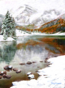 Reflective Paintings - Maroon Lake by Mary Giacomini