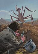 Astronauts Digital Art - Marooned Astronaut Confronting Monster by Martin Davey