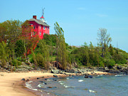 J.p. Prints - Marquette Harbor Lighthouse Print by Mark J Seefeldt