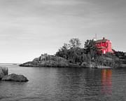J.p. Prints - Marquette Harbor Lighthouse selective color Print by Mark J Seefeldt