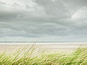 Cloud Photography Posters - Marram Grass On Beach By Sea Poster by Dune Prints by Peter Holloway