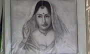 Charcaol Prints - Married Woman Print by Shubham Agrawal