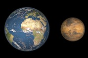 Mars Black Art - Mars And Earth Compared, Artwork by Walter Myers