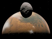Phobos Prints - Mars And Phobos, Artwork Print by Walter Myers