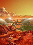 Planet Painting Metal Prints - Mars Colony Metal Print by Don Dixon