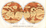 Cartography Photos - Mars Map From 1881 by Detlev Van Ravenswaay