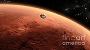 Artist Rendering Posters - Mars Science Laboratory Approaching Mars Poster by NASA/Science Source