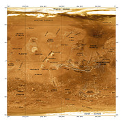 Planet Map Prints - Mars Topographical Map, Satellite Image Print by Detlev Van Ravenswaay