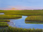 Egret Paintings - Marsh at Low Water by Audrey McLeod