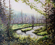 Canadian Artist Painter Painting Originals - Marsh Lands by Richard T Pranke