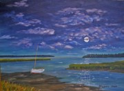 South Carolina Low Country Marsh Paintings - Marsh Moon by Stanton Allaben