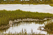 Marsh Scene Paintings - Marsh Reflections by Liz Dettrey