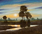 Waterscape Painting Posters - Marsh Sunset Poster by Rick McKinney