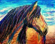The Horse Pastels Prints - Marsh Tacky Wild Horse Print by Patricia L Davidson