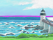 Maine Seacoast Paintings - Marshal Point Light by Douglas Auld