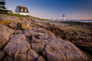 New England Lighthouses Prints - Marshal Point Light Sunset Print by Susan Cole Kelly