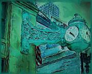 Loop Paintings - Marshall Fields Clock Chicago by M Zimmerman