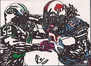 Player Drawings Posters - Marshawn Lynch 3 Poster by Jeremiah Colley