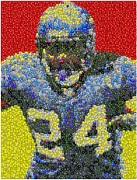 Running Back Mixed Media - Marshawn Lynch Skittles Mosaic by Paul Van Scott
