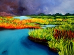 Thunder Painting Originals - Marshland by Sheila Maida
