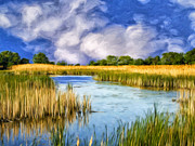 Isle Of Palms Paintings - Marshlands on Isle of Palms by Dominic Piperata