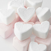 Marshmallow Framed Prints - Marshmallow Love Hearts Framed Print by Kim Haddon Photography