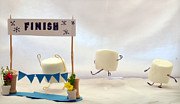 Finish Line Metal Prints - Marshmallow Marathon Metal Print by Heather Applegate