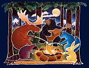 Raccoon Painting Posters - Marshmallow Roast Poster by Harriet Peck Taylor