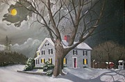Snow Scenes Drawings Prints - Martel House Middletown Connceticut Print by Robert Arsenault