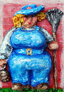 Chubby Art Reliefs - Martha in the Garden by Alison  Galvan