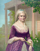 Martha Washington Framed Prints - Martha Washington, Colored Lithograph Framed Print by Everett