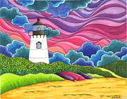 New England Lighthouse Paintings - Marthas Vineyard by Denyse Dar