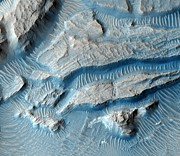 Arabia Photos - Martian Crater Rim, Satellite Image by Nasajpluniversity Of Arizona