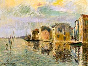 Signed Metal Prints - Martigues in the South of France Metal Print by Gustave Loiseau