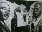African-american Drawings Posters - Martin and Malcolm Poster by Keith Burnette
