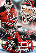 Goaltending Framed Prints - Martin Brodeur collage Framed Print by Mike Oulton