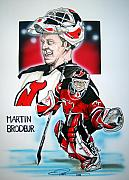 Nhl Drawings Prints - Martin Brodeur Print by Dave Olsen