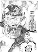 Autographed Mixed Media Posters - Martin Brodeur Sports Portrait Poster by Marty Rice