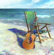 Music Instruments Posters - Martin Goes to the Beach Poster by Andrew King
