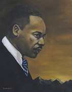 Martin  Luther Paintings - Martin Luther King Jr - From The Mountaintop by Dwayne Glapion