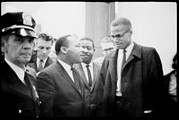 1960s Candids Framed Prints - Martin Luther King Jr., And Malcolm X Framed Print by Everett