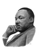Leader Drawings - Martin Luther King Jr by Charles Vogan