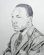 Martin Luther King Jr Drawings Posters - Martin Luther King Jr. Poster by John Keaton
