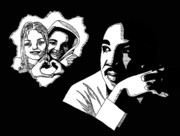 Freedom Fighter Drawings - Martin Luther King Jr. by Scarlett Royal