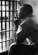 Arrested Metal Prints - Martin Luther King, Jr, Sitting Metal Print by Everett