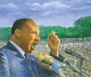 Civil Rights Pastels Posters - Martin Luther King Jr. Speech Poster by Robert Casilla