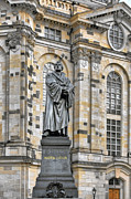 Historic Statue Posters - Martin Luther Monument Dresden Poster by Christine Till