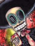 Skull Paintings - Martin Mariachi by  Abril Andrade Griffith