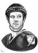 Hockey Drawings Acrylic Prints - Martin St-Louis Acrylic Print by Murphy Elliott
